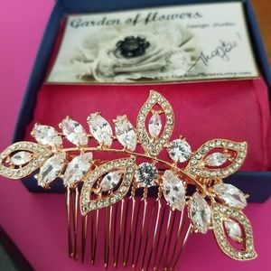NEW Rose gold and CZ hair comb Never Worn.